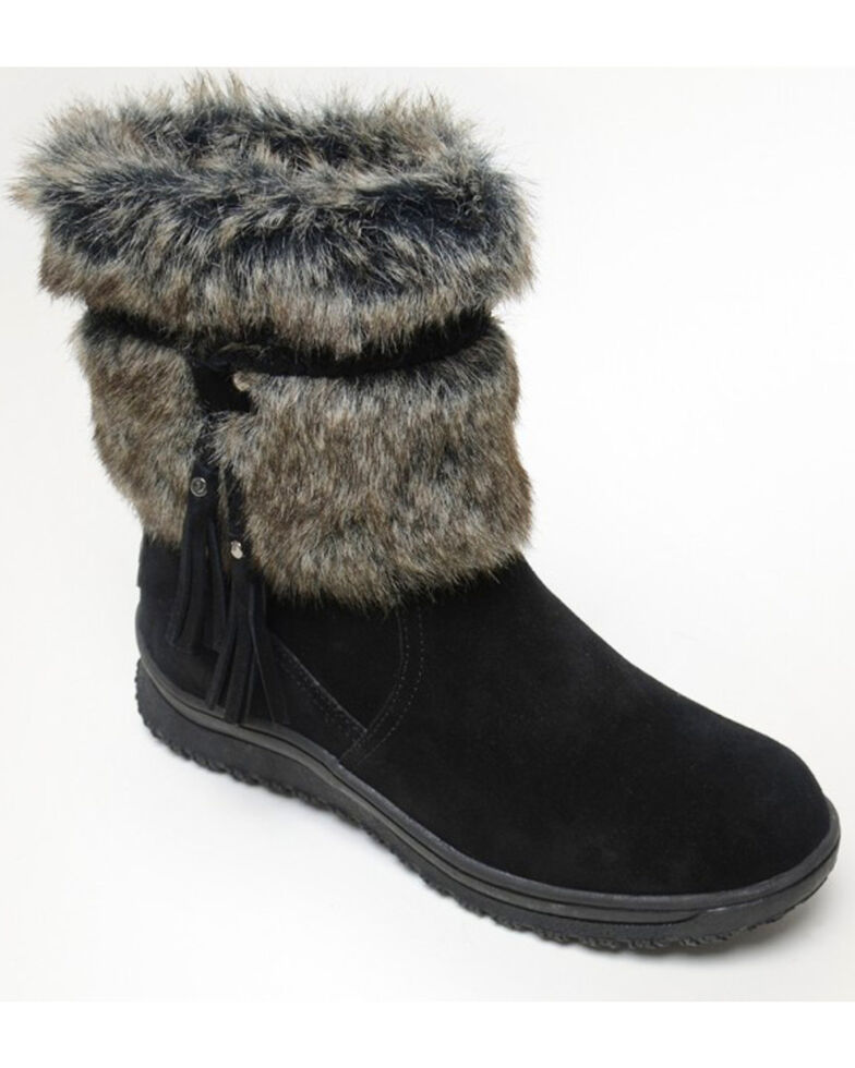 Minnetonka Women's Everett Suede Fur Boots - Round Toe, Black, hi-res