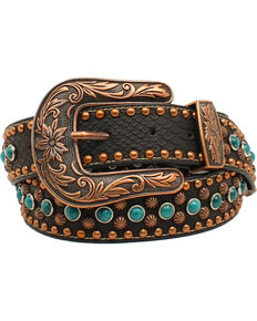 Nocona Women's Copper Nailhead Turquoise Belt, Black, hi-res