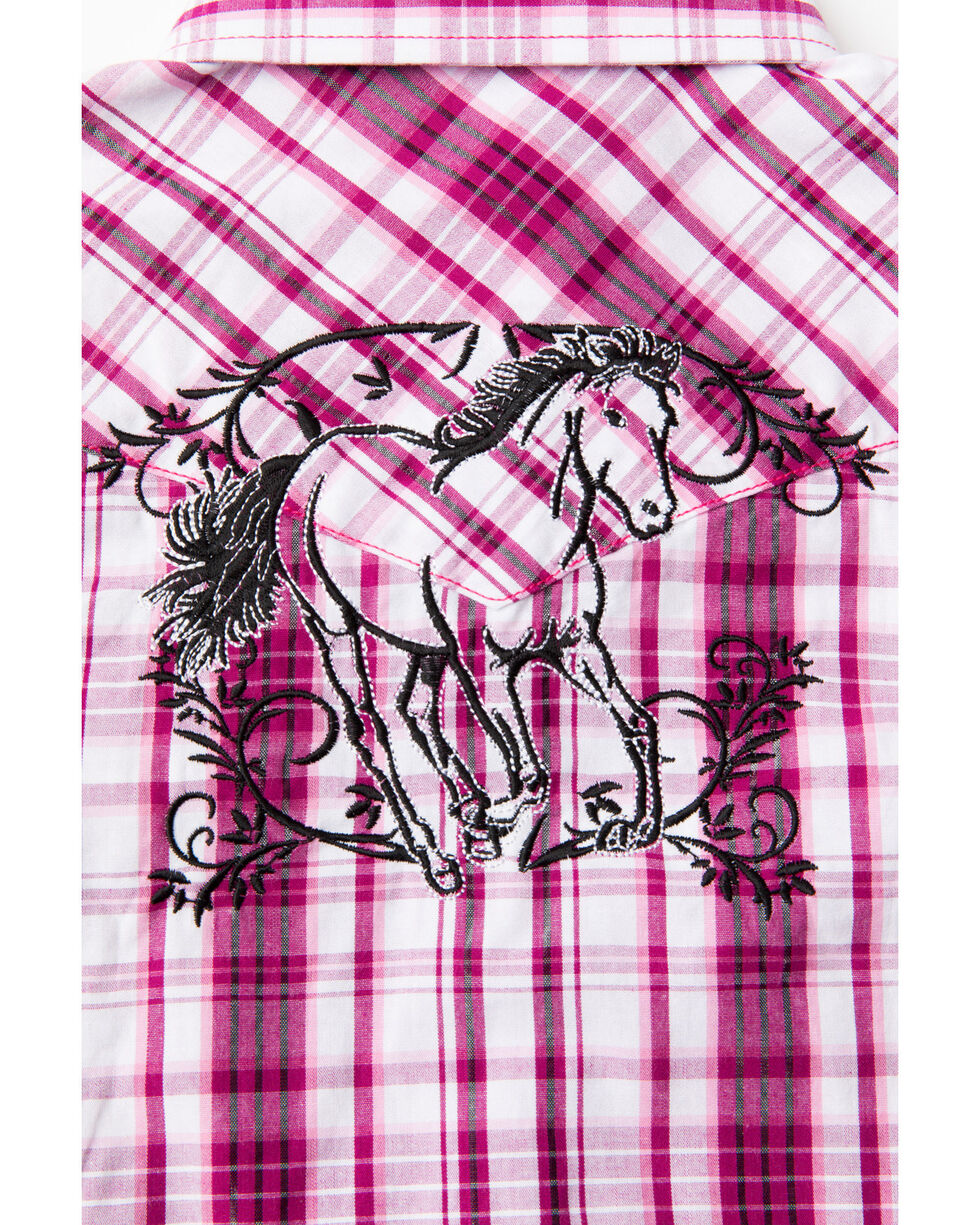 Cowgirl Hardware Girls' Triple Woven Plaid Long Sleeve Shirt, Pink, hi-res