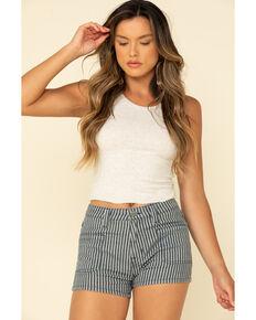 Panhandle Women's Dark Stripe High Rise Shorts, Blue, hi-res