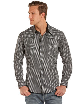 Rock & Roll Cowboy Men's Poplin Geo Print Long Sleeve Shirt , Charcoal, hi-res