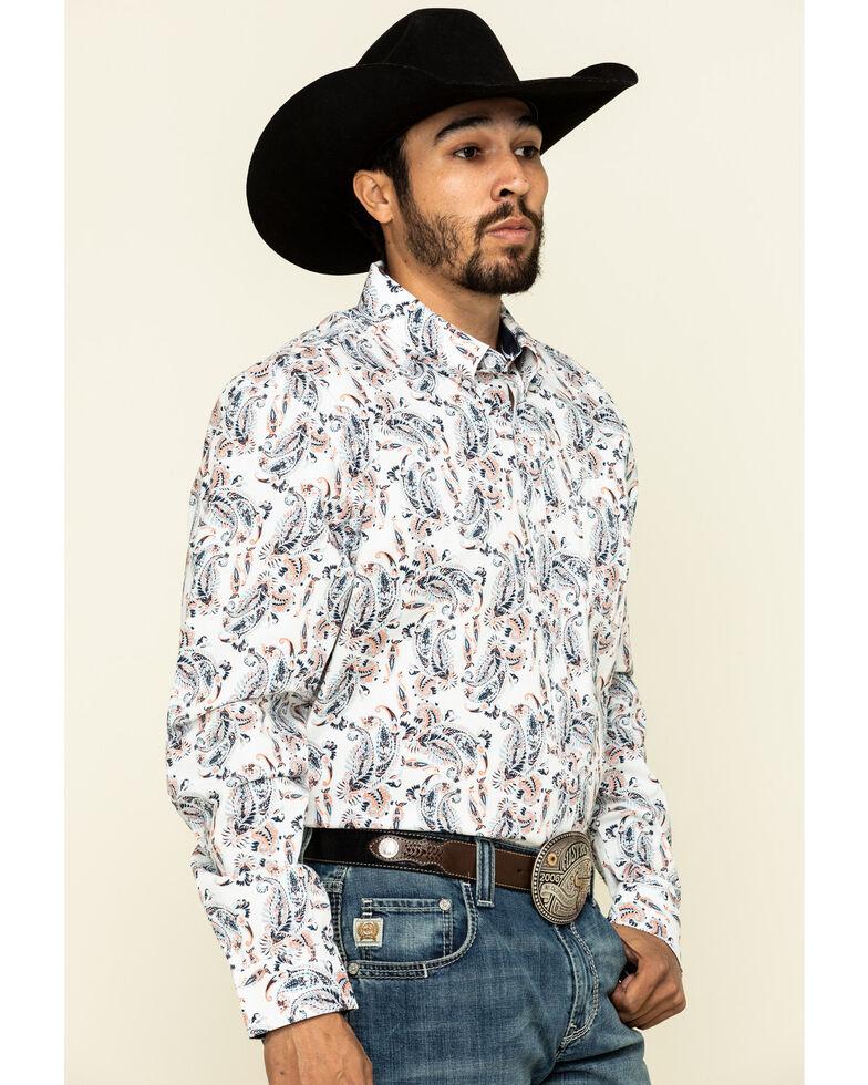 Cody James Core Men's Rodeo Drive Large Paisley Print Long Sleeve Western Shirt , White, hi-res