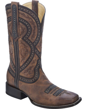Corral Men's Studded Overlay Western Boots, Brown, hi-res