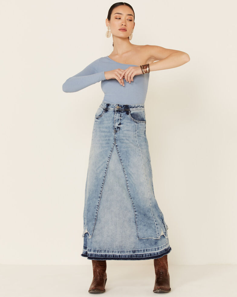 Billy T Women's Blue Long Denim Overlay Skirt, Blue, hi-res