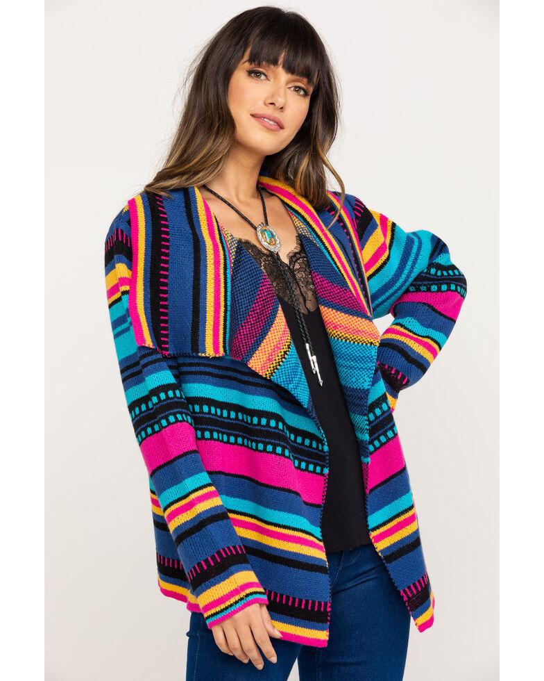 Rock & Roll Cowgirl Women's Serape Stripe Cardigan, Multi, hi-res