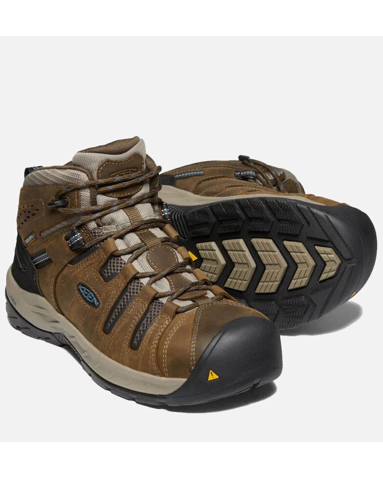 Keen Men's Flint II Waterproof Work Boots - Steel Toe, Brown, hi-res