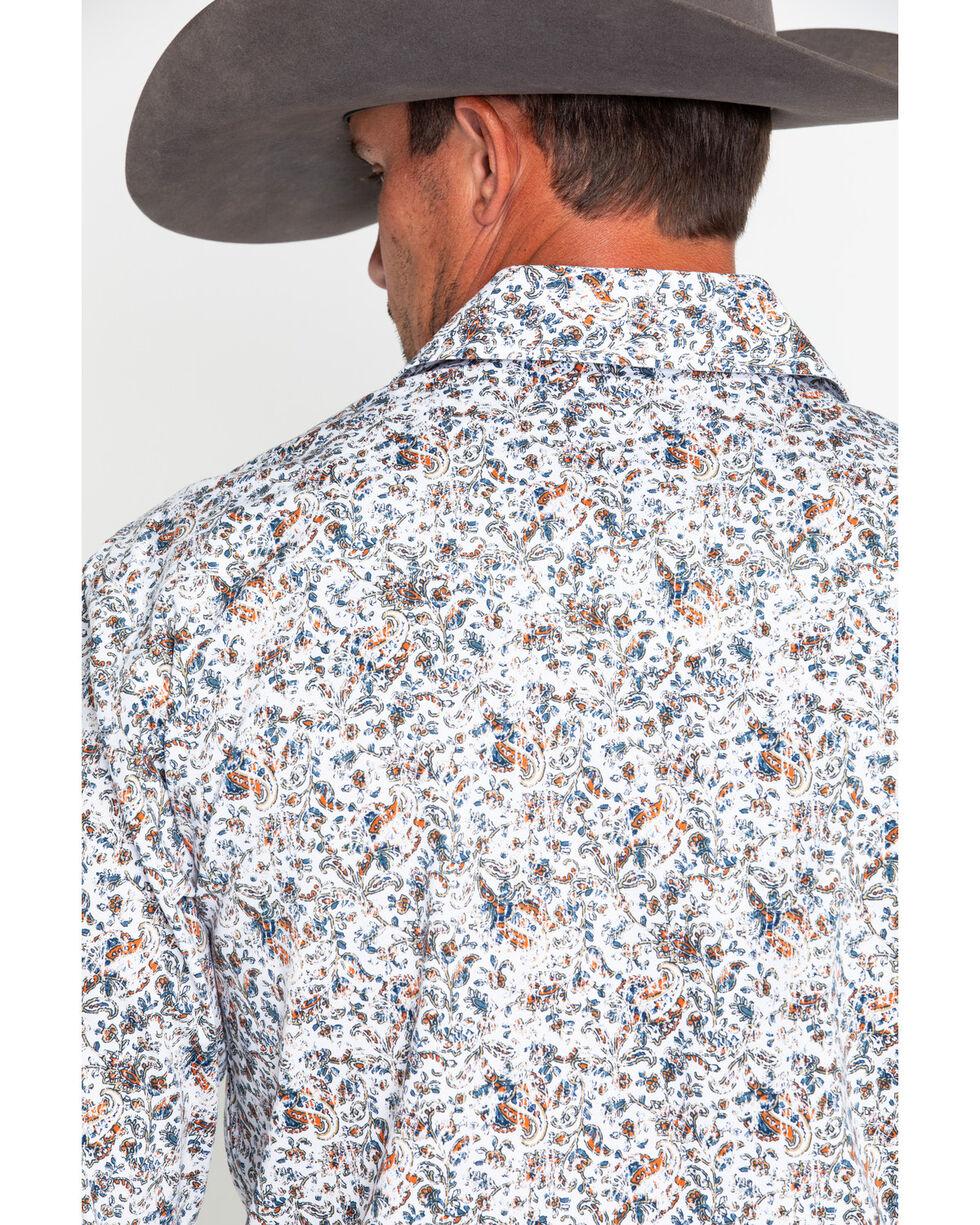 Panhandle Men's Floral Antique Print Long Sleeve Western Shirt , White, hi-res