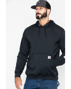 Carhartt Men's Logo Hooded Work Sweatshirt, Black, hi-res