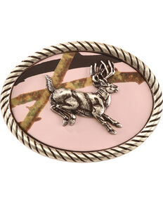 Nocona Girls' Oval Mossy Oak Jumping Buck Belt Buckle, Pink, hi-res