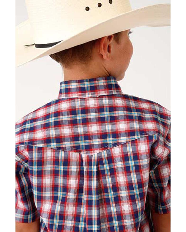 Roper Boys' Amarillo Multi Plaid Short Sleeve Western Shirt , Blue, hi-res