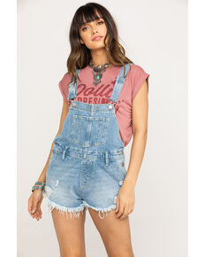 Free People Women's Light Wash Short Overalls, Blue, hi-res