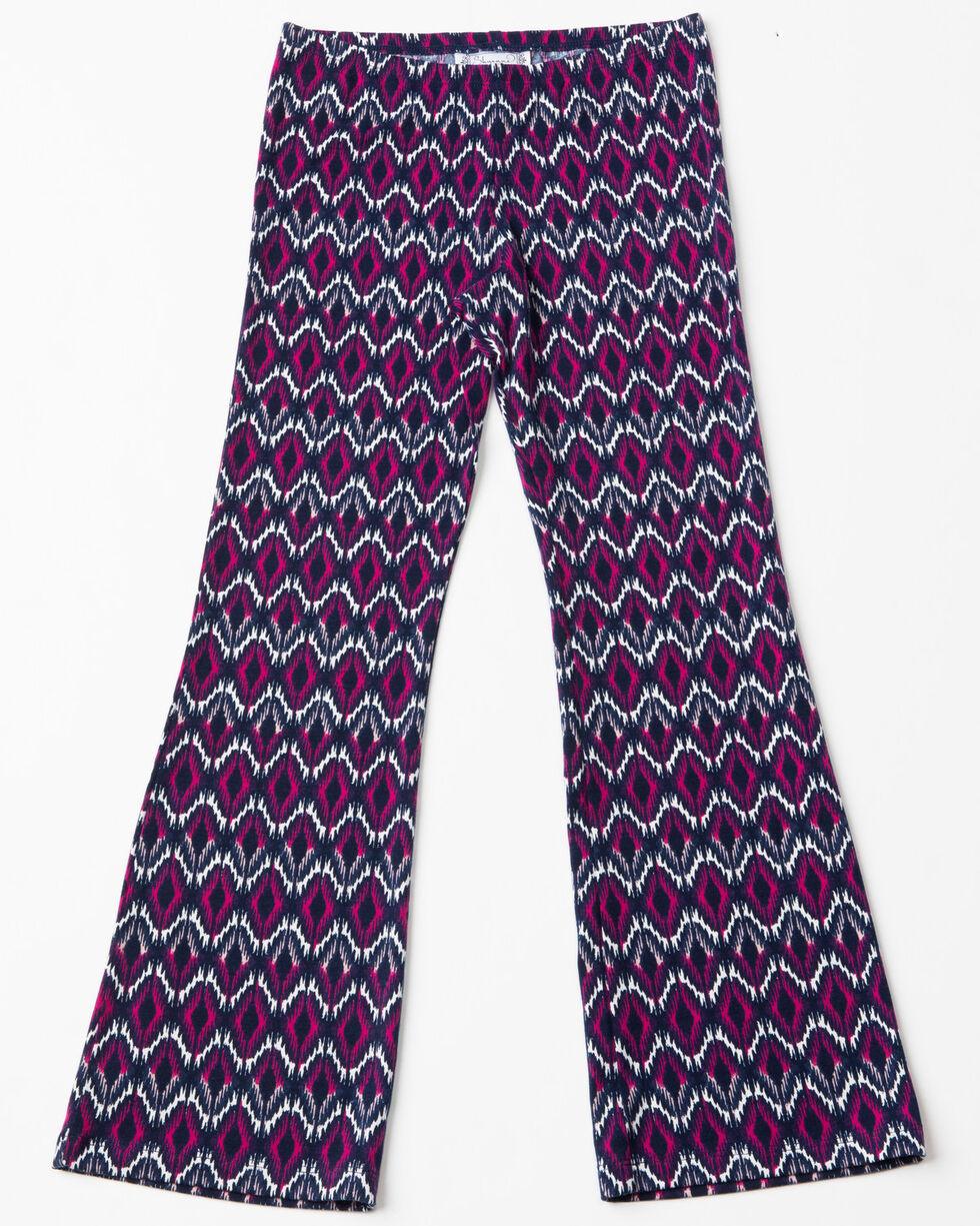 Shyanne Girls' Ruffled Cold Shoulder Knit Pant Set, Ivory, hi-res