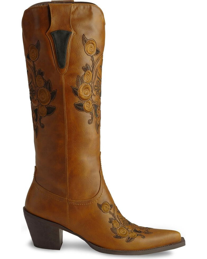 Roper Women's Floral Rose and Skull Western Boots, Tan, hi-res