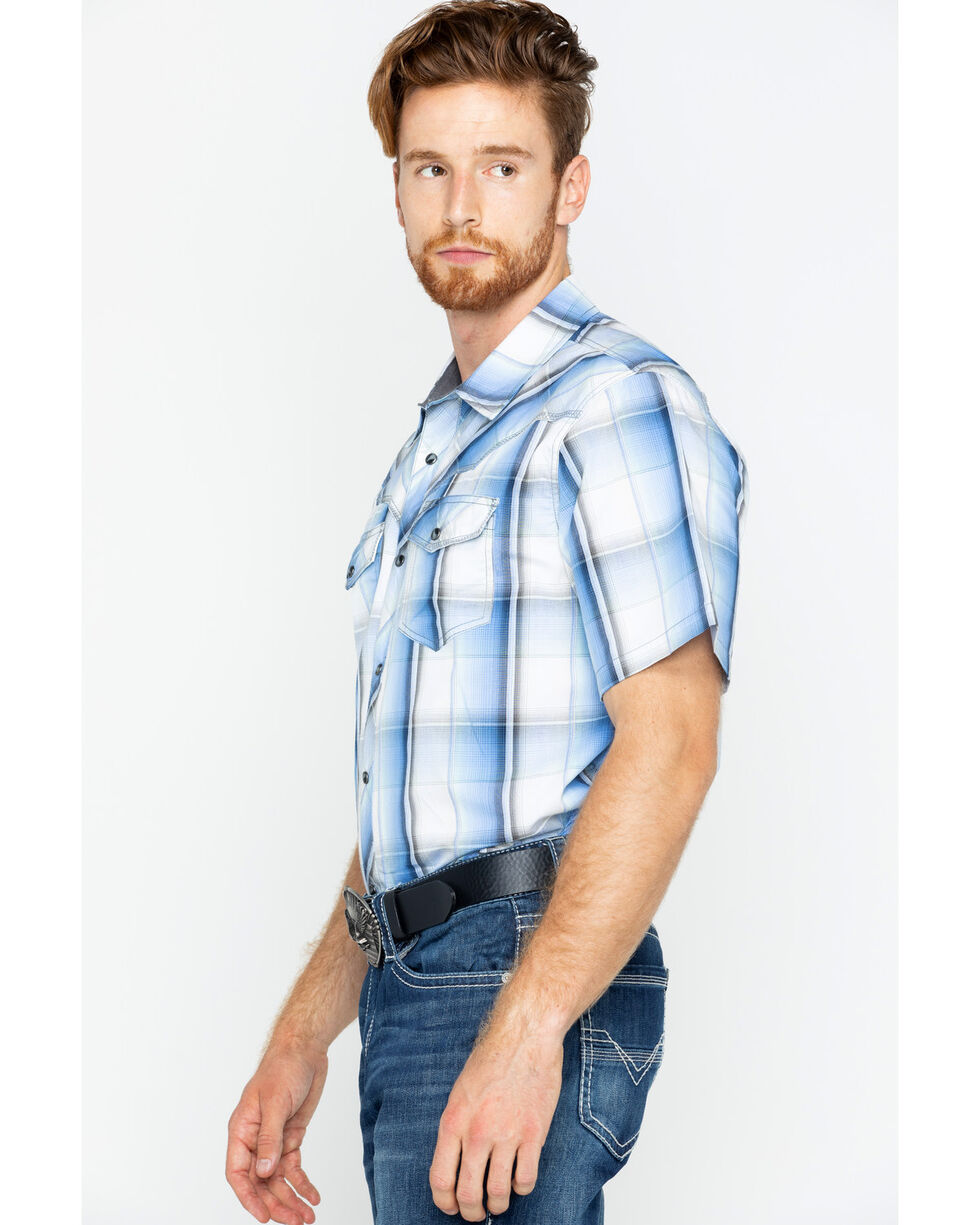 Cody James® Men's Block Plaid Short Sleeve Shirt, Blue, hi-res