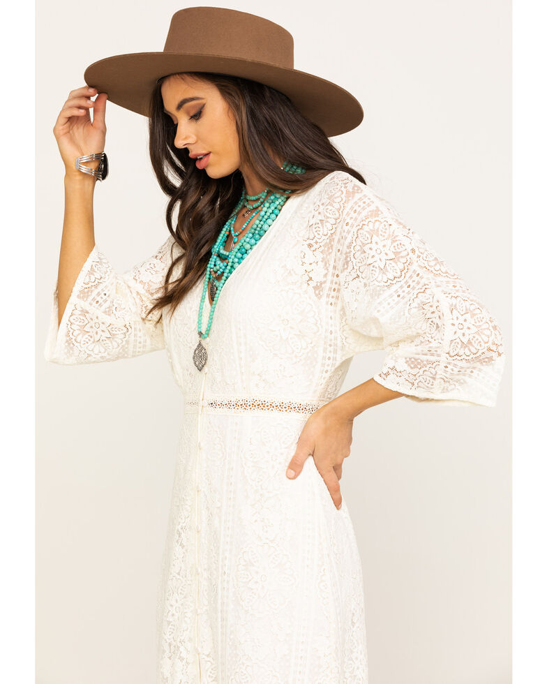 Flying Tomato Women's Ivory Lace Button Front Dress , Ivory, hi-res