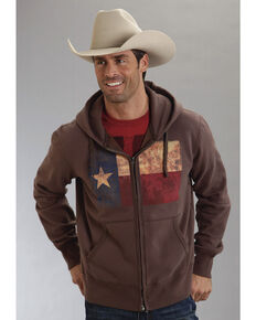 Roper Men's Americana Collection Zip Front Hoodie, Brown, hi-res