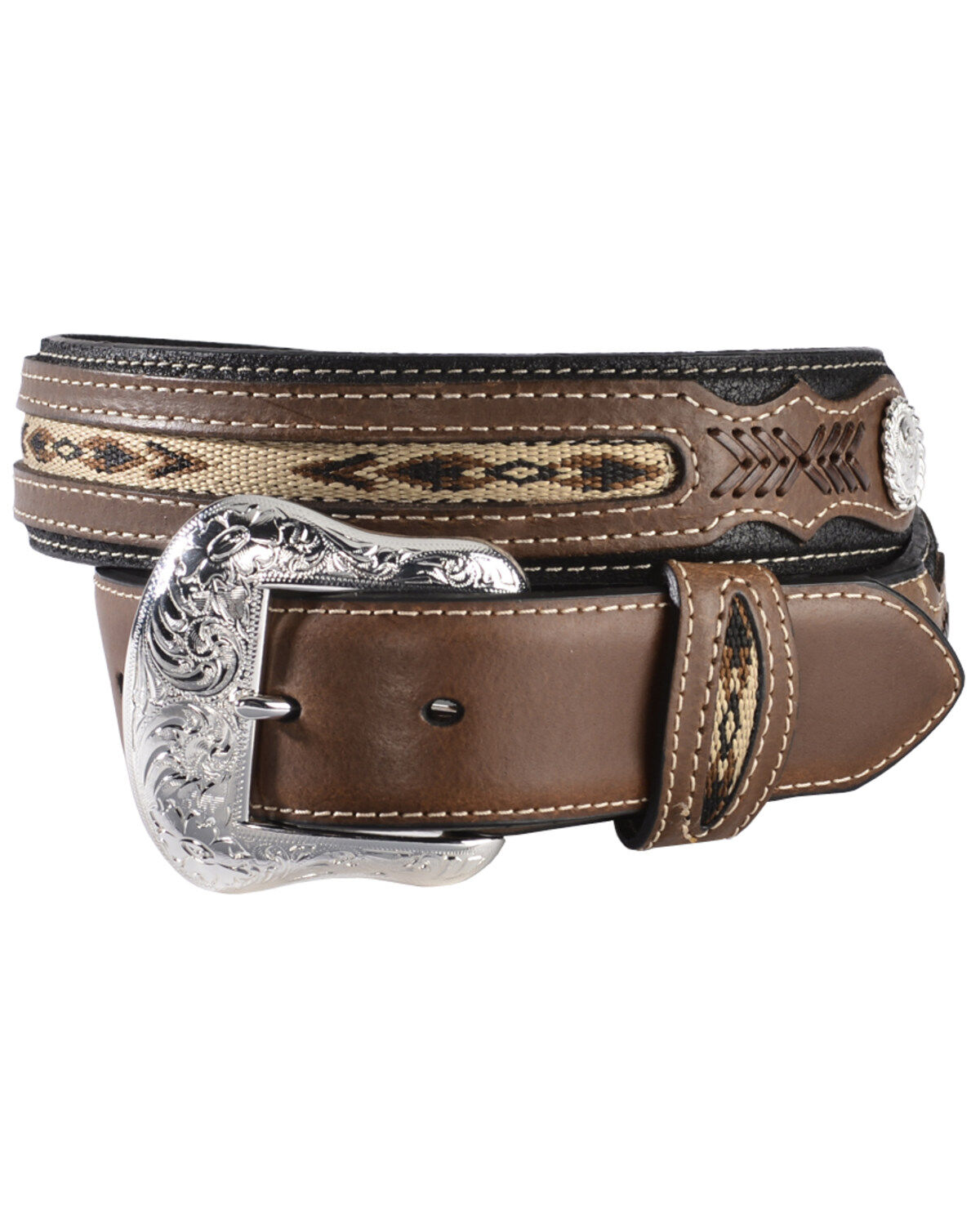 """C-8-40 40/"""" Nocona Western Mens Belt Leather Tooled Floral Contrast Stitching Tan"""