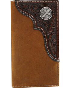 Cody James® Men's Tooled Cross Checkbook Cover/Wallet, Brown, hi-res