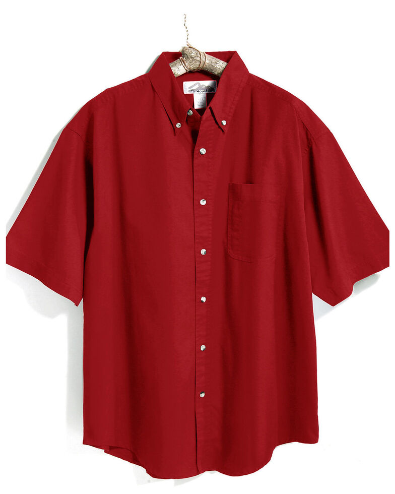 Tri-Mountain Men's Red Solid Recruit Short Sleeve Work Shirt , Red, hi-res