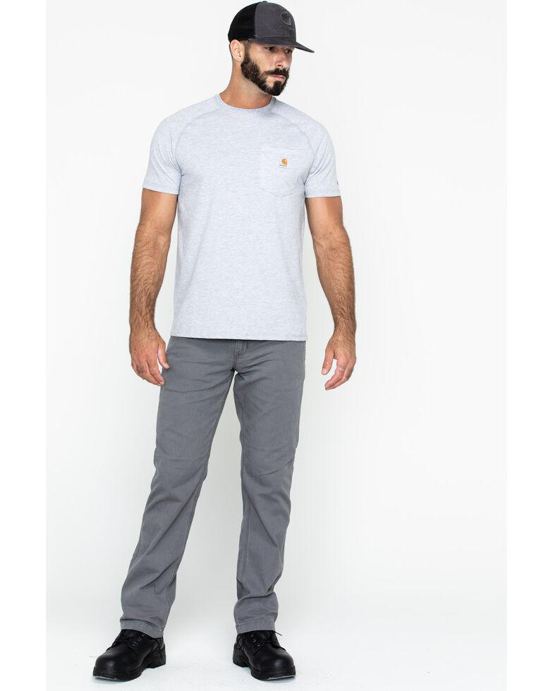 Carhartt Men's Grey Force Cotton Delmont Short Sleeve Work T-Shirt - Big , Heather Grey, hi-res
