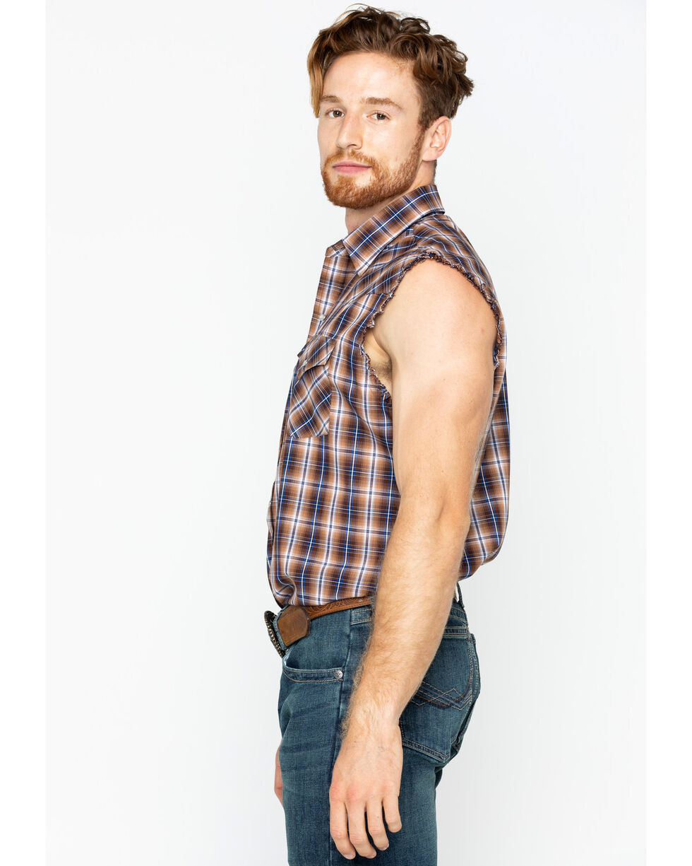 Ely Cattleman Men's Brown Sleeveless Plaid Shirt , Brown, hi-res