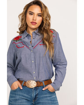 Ariat Women's R.E.A.L. Lively Dark Denim Snap Long Sleeve Western Shirt - Plus, Blue, hi-res