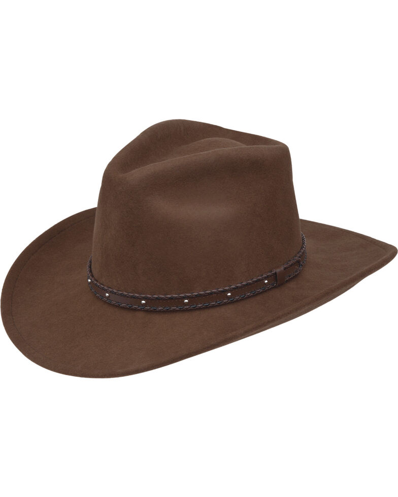 Black Creek Men's Acorn Crushable Western Wool Hat , Brown, hi-res