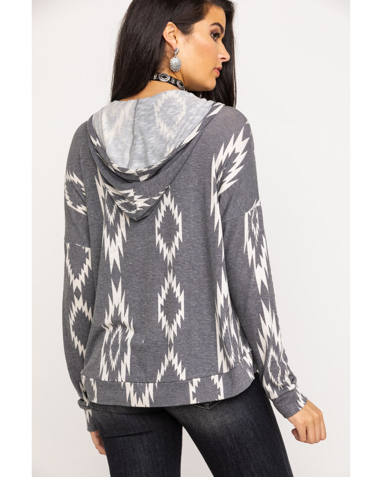 Rock & Roll Cowgirl Women's Charcoal Aztec Print Pullover Hoodie, Black, hi-res