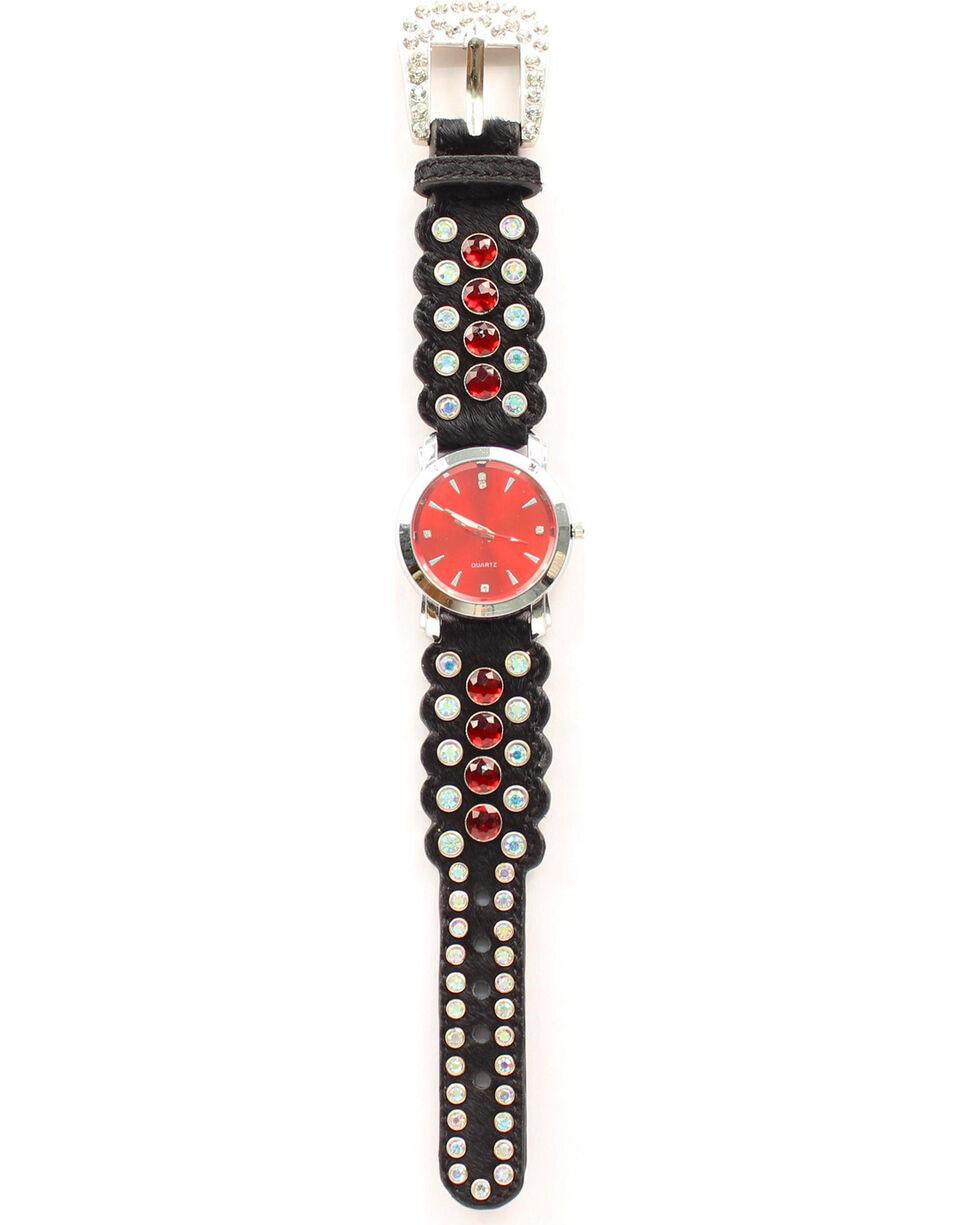 Blazin Roxx Black Hair-on-Hide Red Rhinestone Watch, Black, hi-res