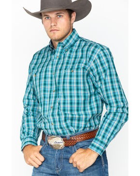 George Strait by Wrangler Men's Plaid Long Sleeve Western Shirt , Forest Green, hi-res