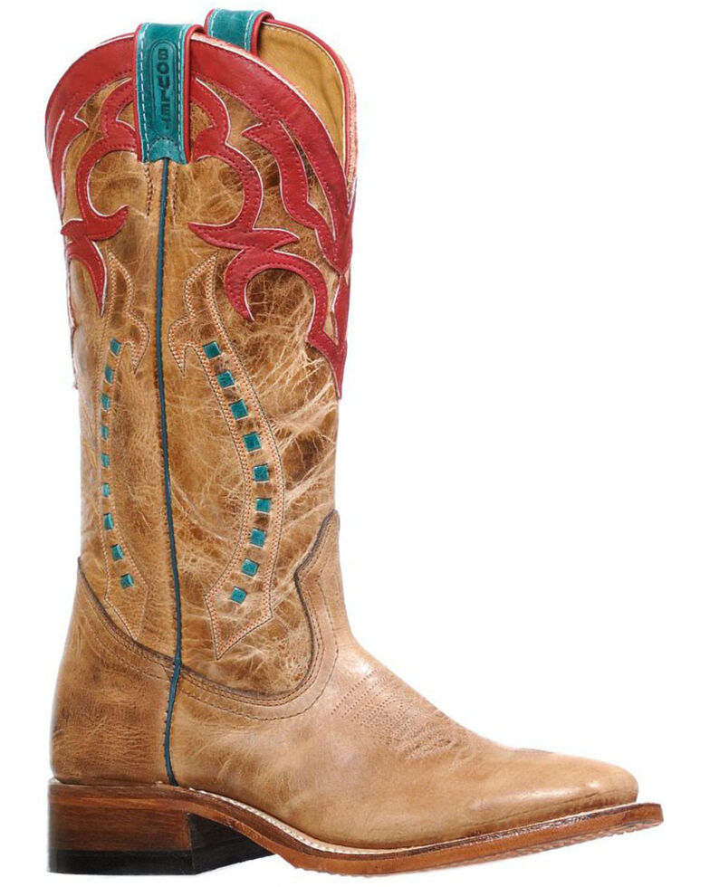 Boulet Women's Cowgirl Boots - Wide Square Toe, Brown, hi-res