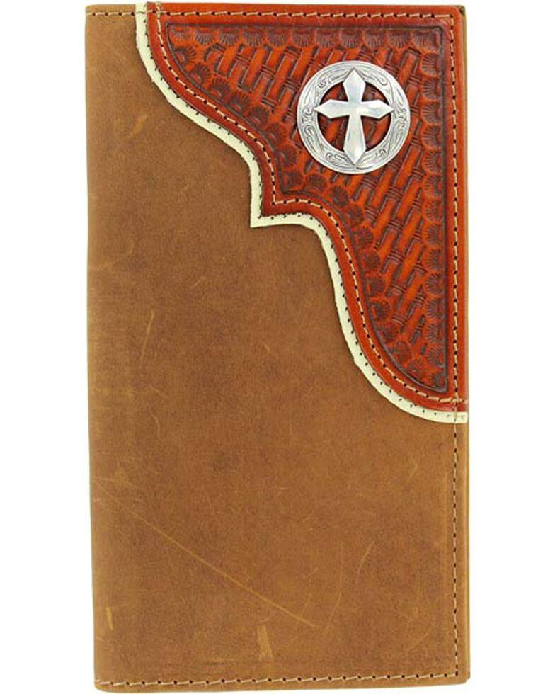 Nocona Basketweave Overlay w/ Cross Concho Rodeo Wallet, Aged Bark, hi-res