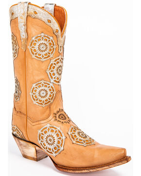 Dan Post Women's Circus Flower Western Boots - Snip Toe, Tan, hi-res