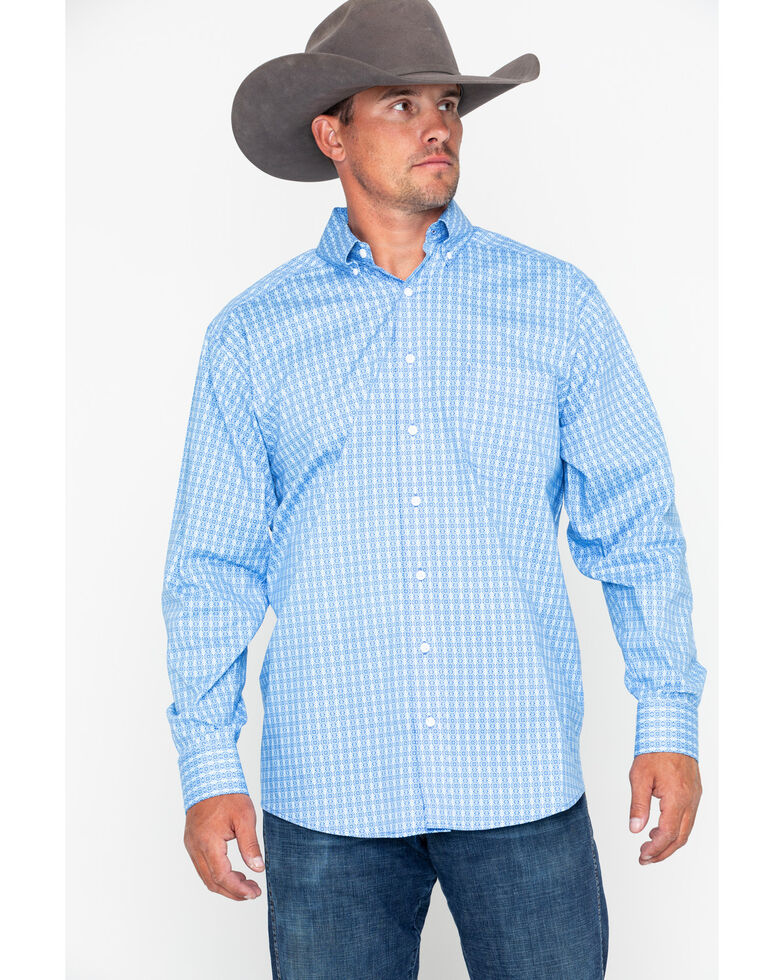 Tuf Cooper Men's Competition Stretch Poplin Long Sleeve Shirt, Blue, hi-res