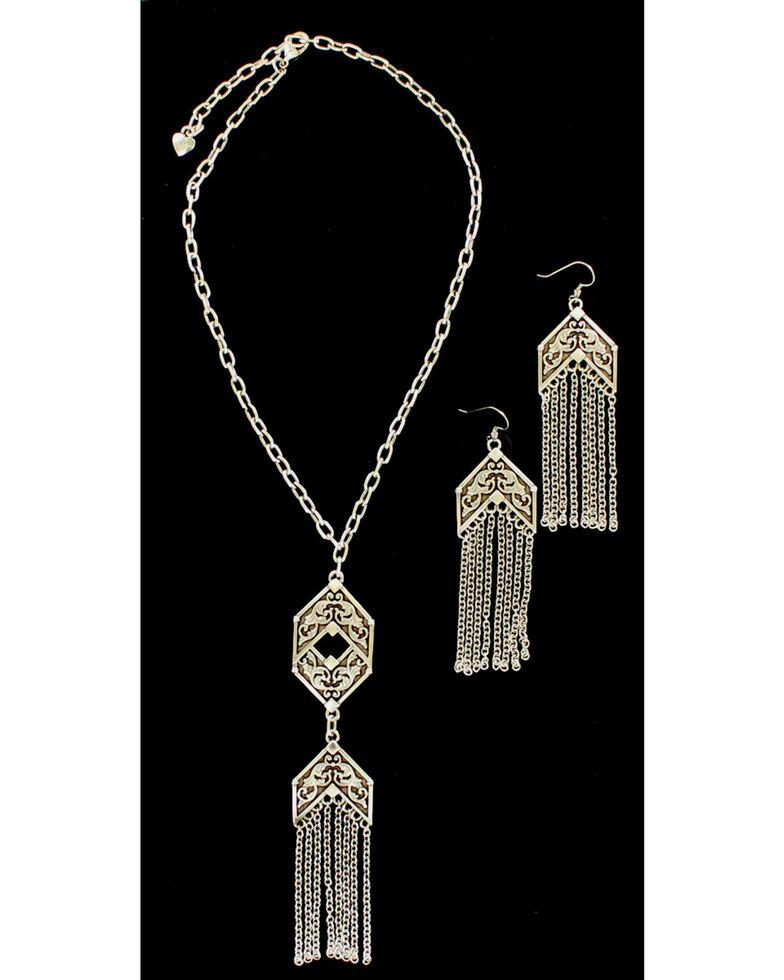 Blazin Roxx Chain Fringe Necklace & Earrings Set, Silver, hi-res