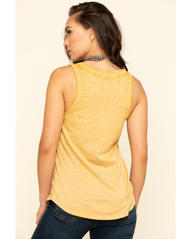 Rock & Roll Cowgirl Women's Mustard Texas Desert Graphic Tank Top, Dark Yellow, hi-res