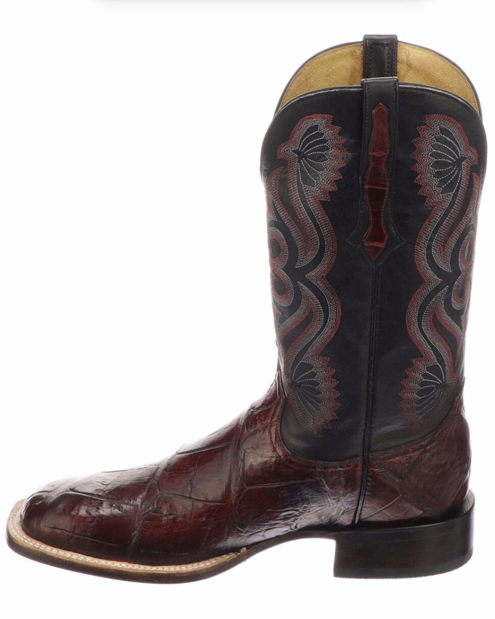 Lucchese Men's Handmade Roy Black Cherry/Black Giant Gator Horseman Boots - Square Toe , Black Cherry, hi-res