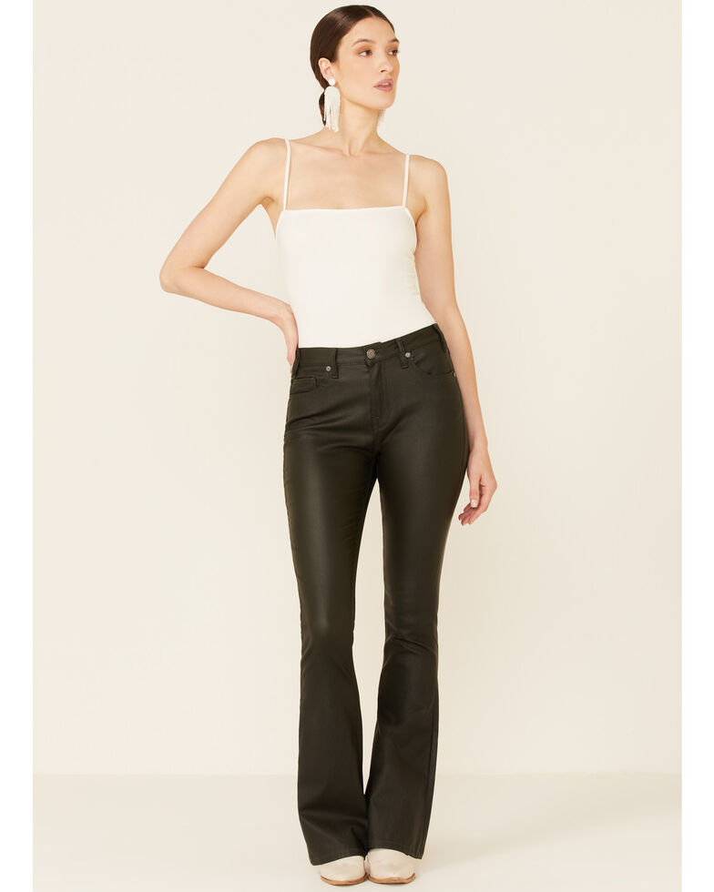 Panhandle Women's Olive High Rise Pleather Flare Jeans , Olive, hi-res