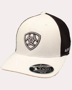 Ariat Men's White Embroidered Shield Logo Flex Fit Mesh Cap , White, hi-res