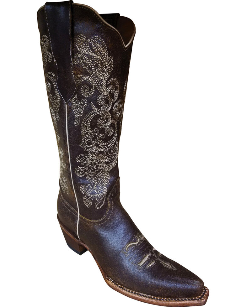 Ferrini Women's Southern Charm Dark Chocolate Cowgirl Boots - Snip Toe, Dark Brown, hi-res