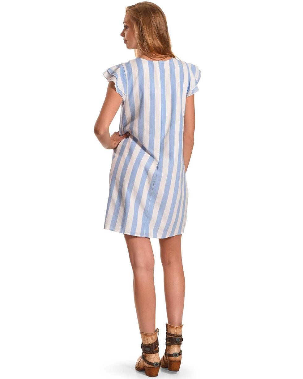 CES FEMME Women's Blue Double Ruffle Cap Sleeve Dress , Blue, hi-res