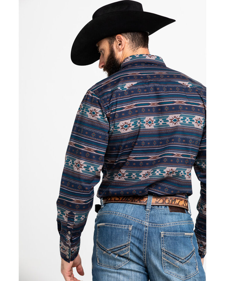 Roper Men's Blue Aztec Print Long Sleeve Western Shirt , Blue, hi-res