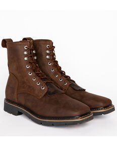 Cody James Men's Lace Up Kiltie Work Boots - Square Toe, Brown, hi-res