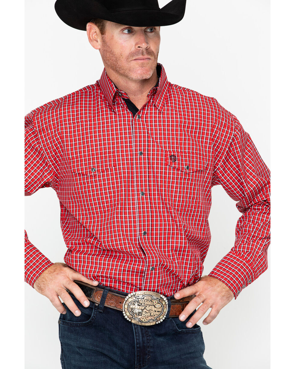 Wrangler George Strait Men's Red Small Plaid Western Shirt , Red, hi-res