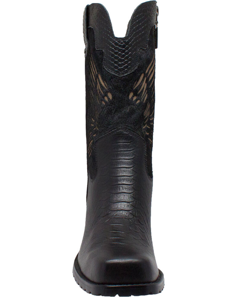 """AdTec Women's 11"""" Laser Eagle Biker Boots  , Black, hi-res"""
