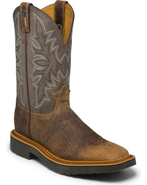 Justin Men's Scottsbluff Western Work Boots, Brown, hi-res