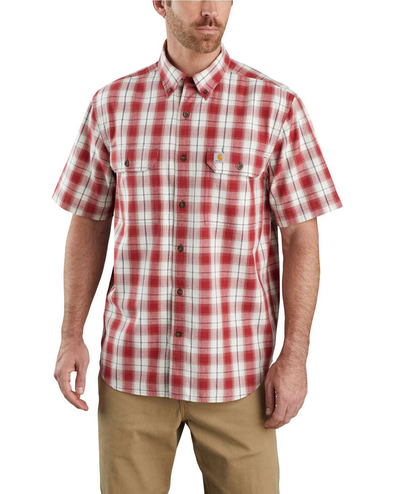 Carhartt Men's Dark Red Plaid Original Fit Midweight Short Sleeve Work Shirt , Dark Red, hi-res