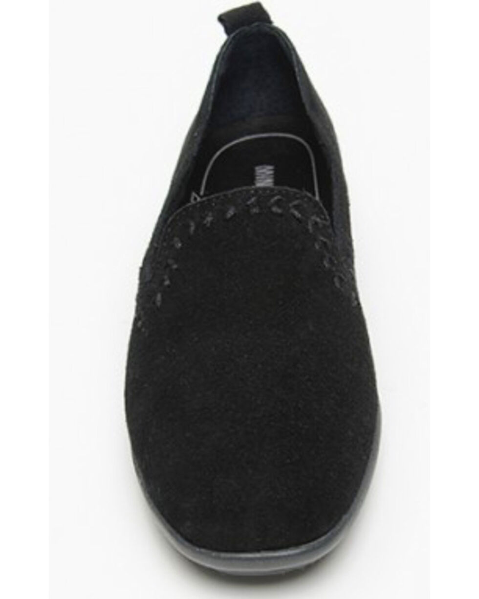 Minnetonka Women's Shay Suede Slip-On Shoes - Round Toe, Black, hi-res