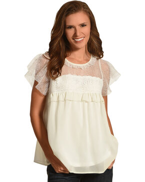 Polagram Women's White Lace Yoke Ruffle Top , White, hi-res