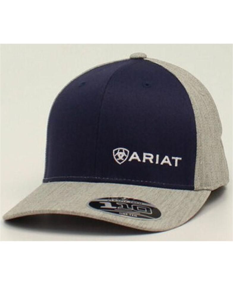 Ariat Men's Navy & Grey Offset Logo Embroidered Flex-Fit Ball Cap , Navy, hi-res